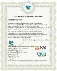 CERTIFICADO ESCUELA SALUDABLE ITEL - SJE