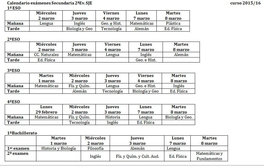 Calendario De Examenes.Calendario De Examenes De 2ª Evaluacion Eso Y Bachillerato
